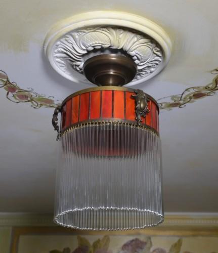 W superbly Żyrandol szklany z witrażem stylowa wisząca lampa sufitowa art deco JT81