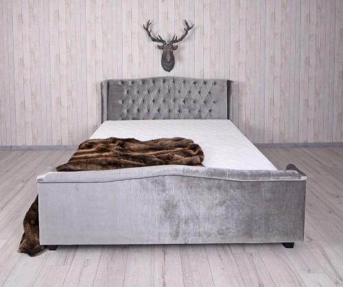 Stylowe łóżko Do Sypialni Drewniane Welur Szare Chesterfield