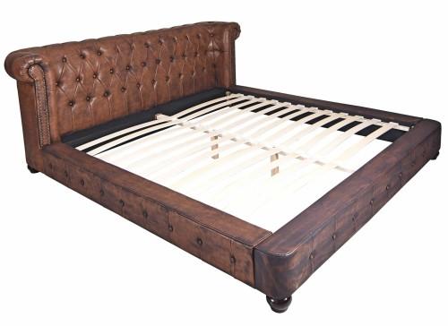 Stylowe łóżko Do Sypialni Drewniane Ekoskóra Brązowe Chesterfield