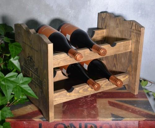 W Mega Drewniany stojak na wino regał stylowy półka drewniana na 6 butelek TN38