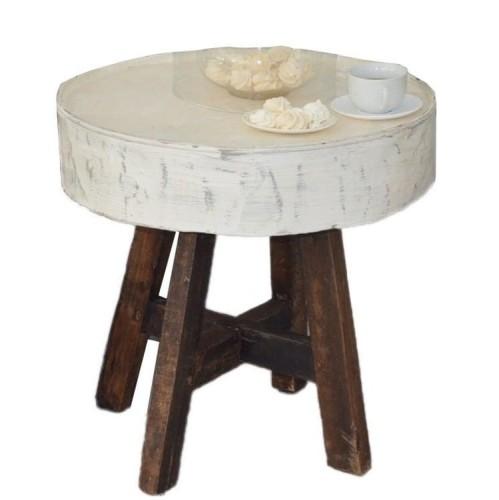 Stolik Okrągły Metalowy Stylowy Rustykalny Na Drewnianych Nogach 57x60x60
