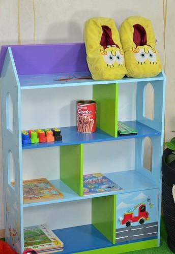 Drewniany Domek Na Zabawki Dla Chłopca Regał Mini Turbo W Kolorze