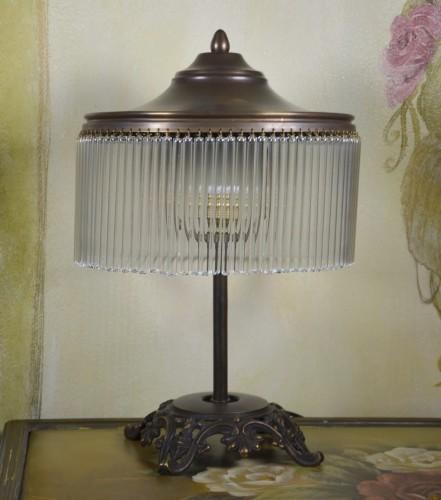 Bardzo dobra Lampa Stojąca nocna Mosiądz i Kryształy Art Deco lampa gabinetowa VU19