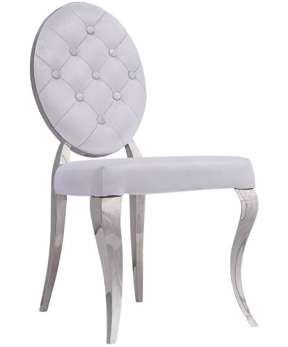 Ogromny Krzesło pikowane białe w stylu Glamour (nowoczesne) CD74