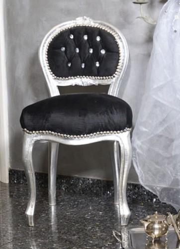 Czarno Srebrne Krzesło Dekoracyjne Siedzisko Pufa W Stylu Glamour