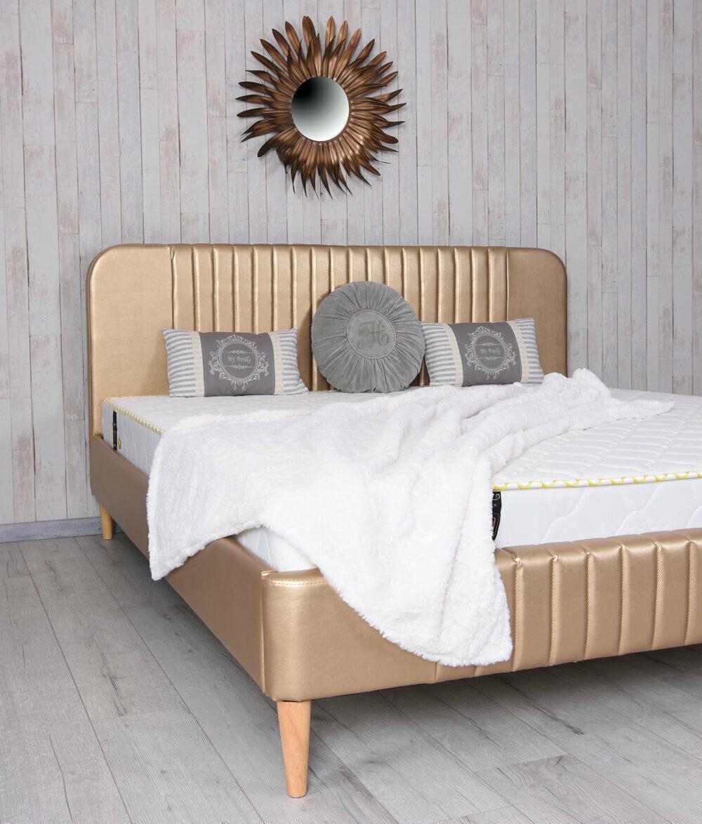 Stylowe łóżko Do Sypialni Drewniane Ekoskóra Złote Art Deco