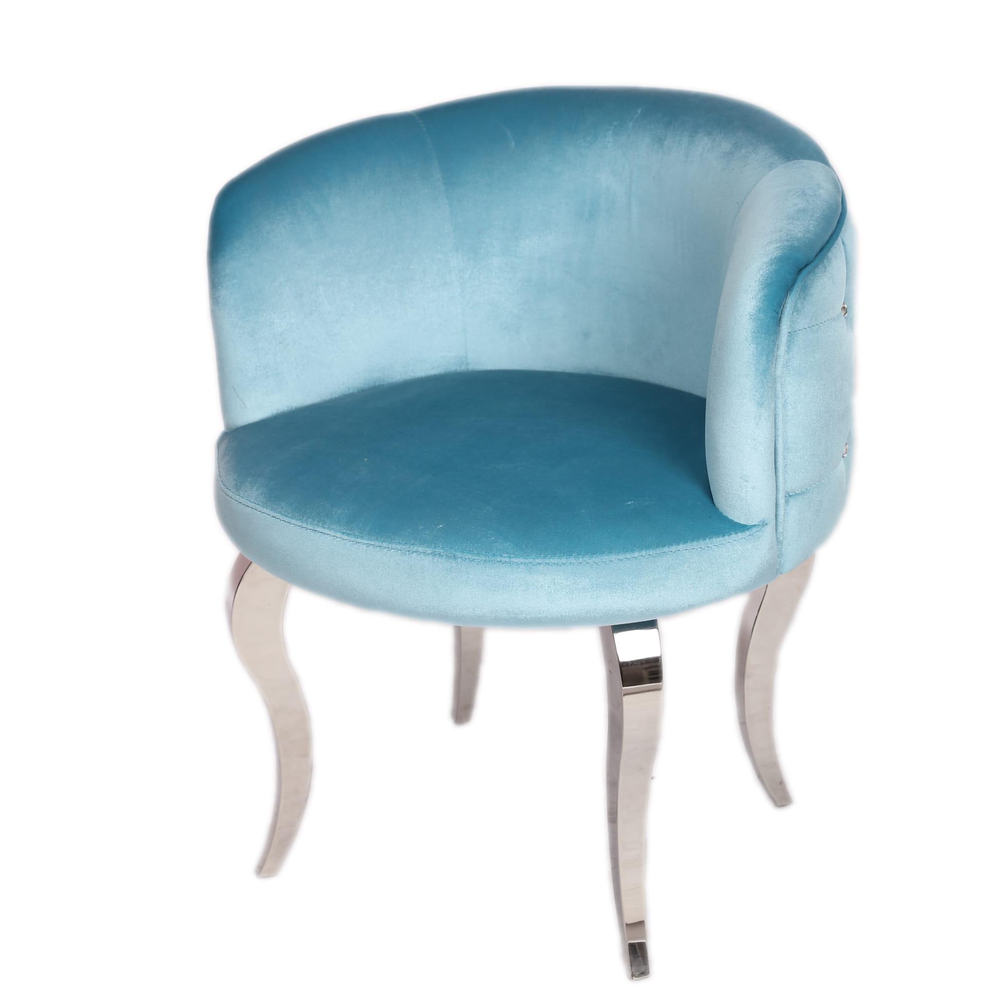 Fotel Okrągły Z Kryształkami Do Salonu Welurowy Niebieski Glamour