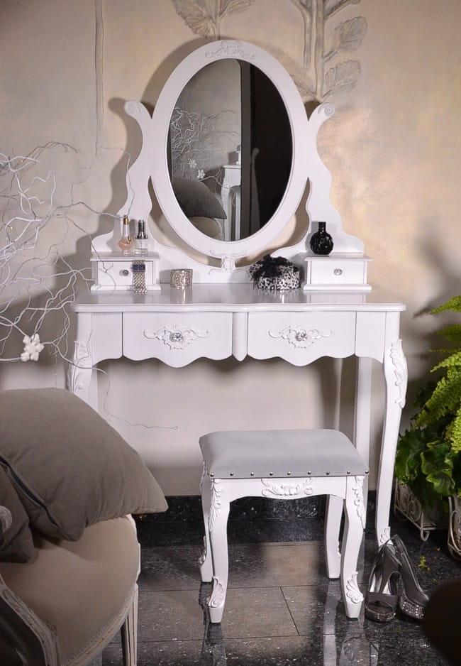 Toaletka Biała Stylowa Z Lustrem Do Sypialni Maria Antonina