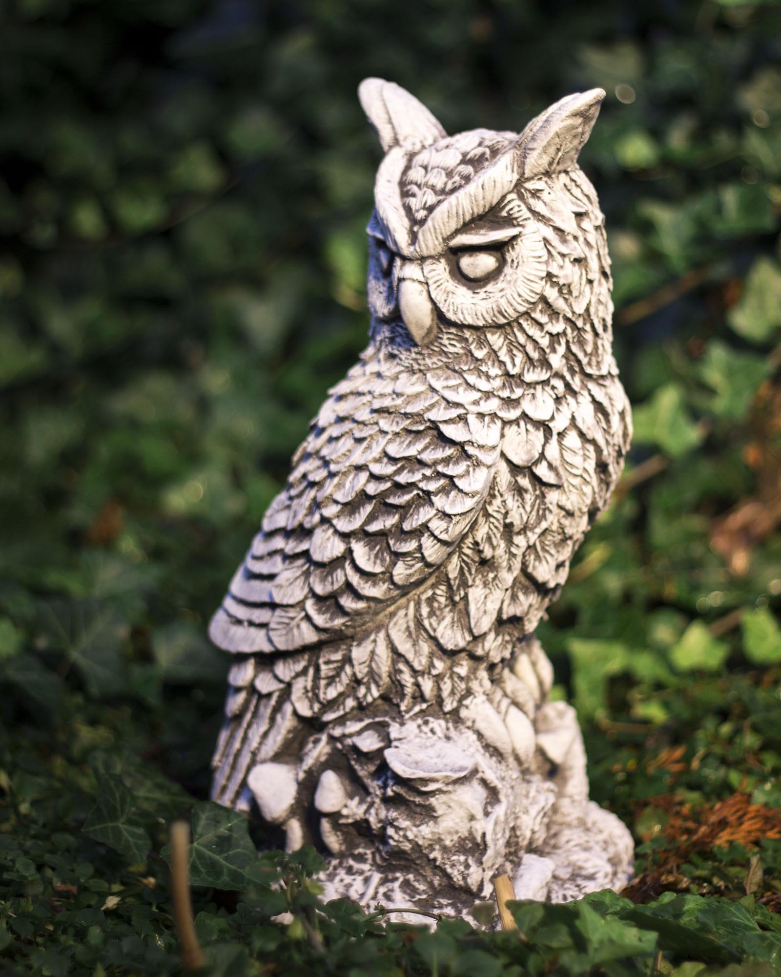 Details zu Steinfigur Stein Uhu Eule Vogel Figur Skulptur Gartenfigur  Dekofigur Außendeko