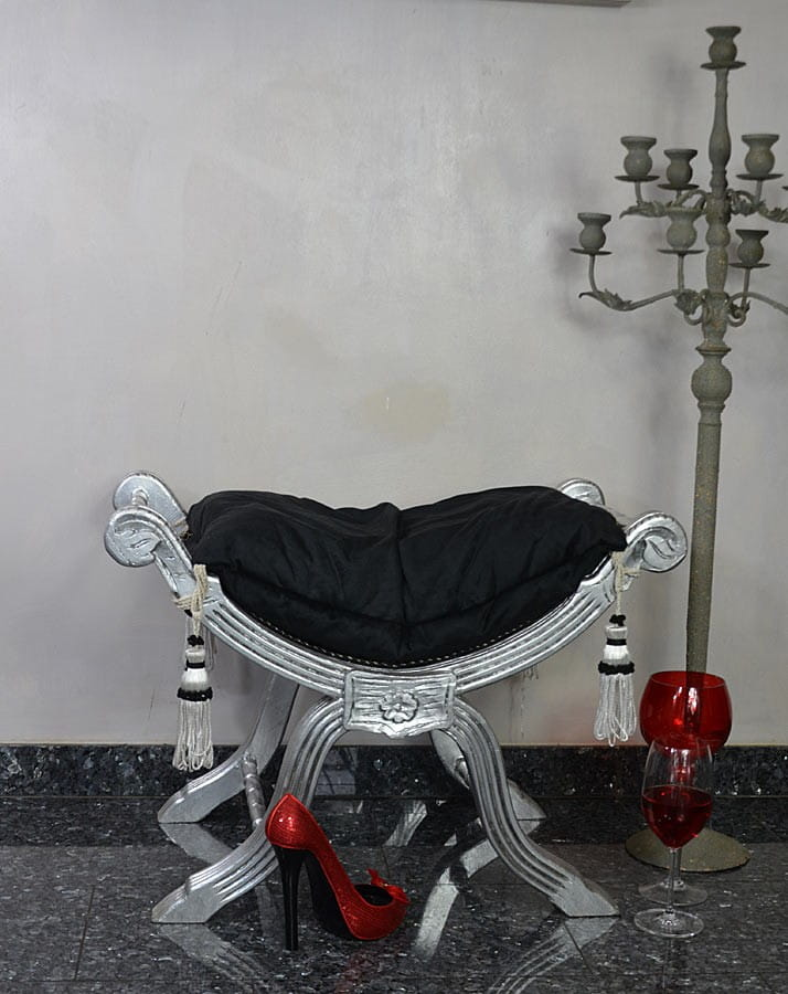 Srebrno Czarne Siedzisko Do Salonu Do Przedpokoju W Stylu Francuskim