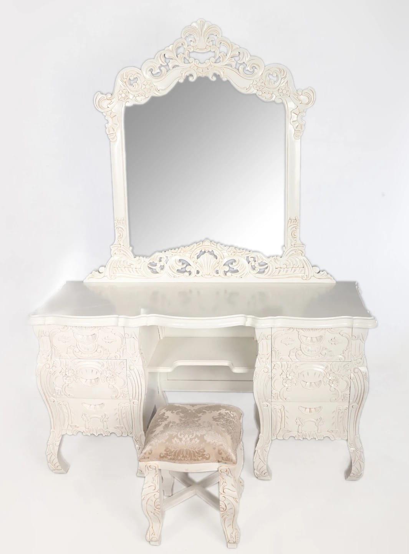 Biała Drewniana Toaletka Z Pufą I Z Lustrem W Stylu Rokoko